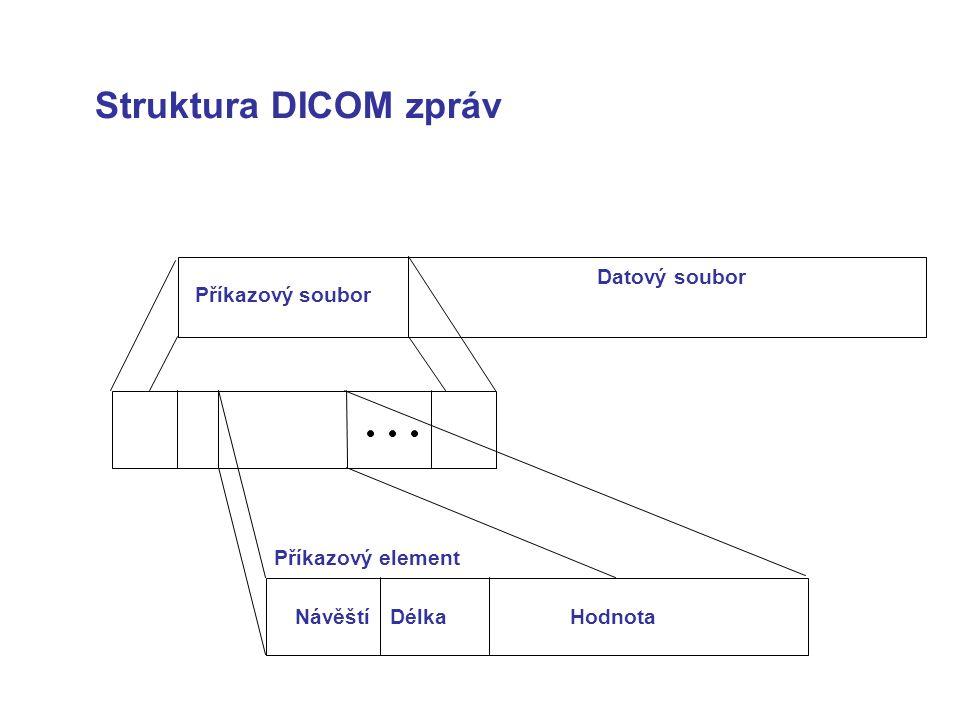 Struktura DICOM zpráv Příkazový soubor Datový soubor Příkazový element NávěštíDélkaHodnota
