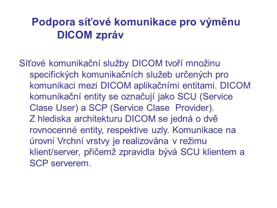 Podpora síťové komunikace pro výměnu DICOM zpráv Síťové komunikační služby DICOM tvoří množinu specifických komunikačních služeb určených pro komunikaci mezi DICOM aplikačními entitami.