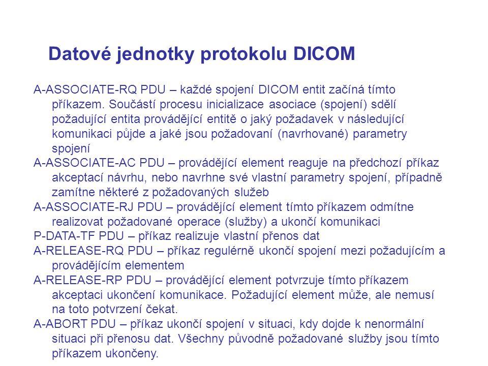 Datové jednotky protokolu DICOM A ‑ ASSOCIATE ‑ RQ PDU – každé spojení DICOM entit začíná tímto příkazem. Součástí procesu inicializace asociace (spoj