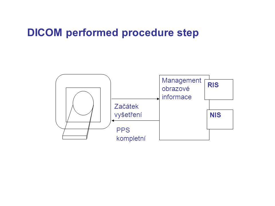DICOM performed procedure step PPS kompletní Začátek vyšetření Management obrazové informace RIS NIS