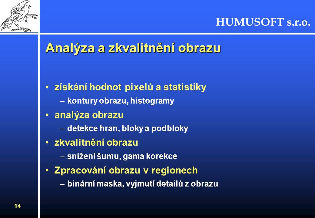 HUMUSOFT s.r.o. 14 Analýza a zkvalitnění obrazu získání hodnot pixelů a statistiky –kontury obrazu, histogramy analýza obrazu –detekce hran, bloky a p