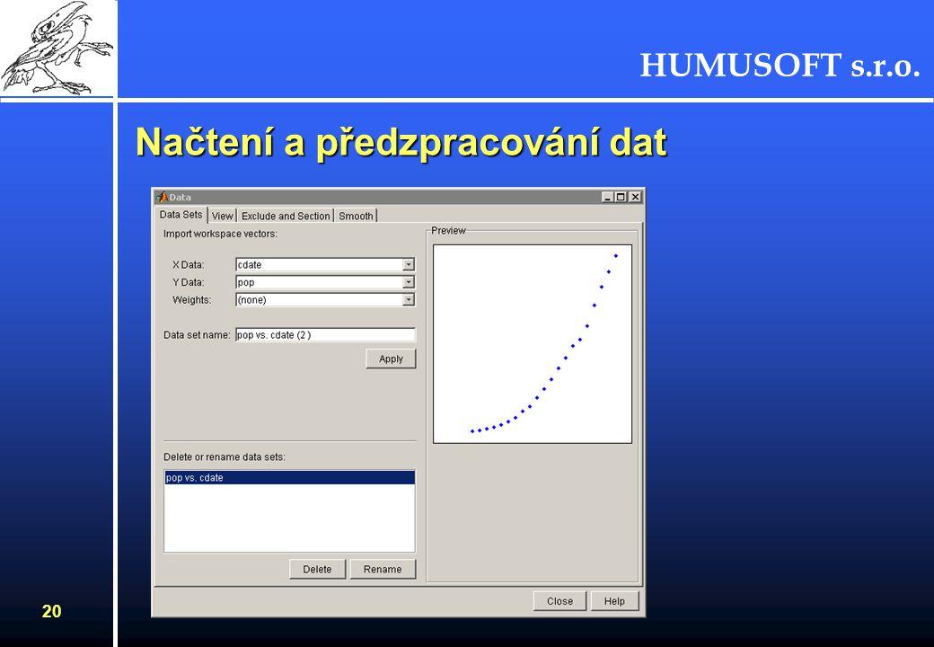 HUMUSOFT s.r.o. 21 Výběr dat - body a úseky