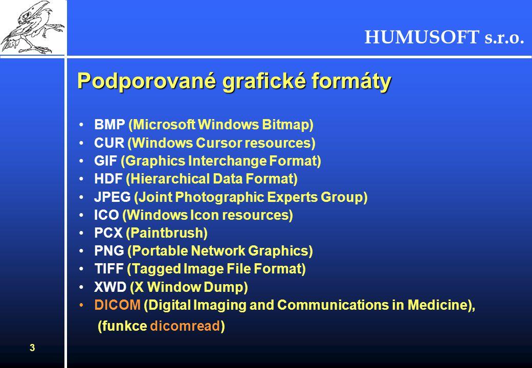 HUMUSOFT s.r.o. 3 Podporované grafické formáty BMP (Microsoft Windows Bitmap) CUR (Windows Cursor resources) GIF (Graphics Interchange Format) HDF (Hi
