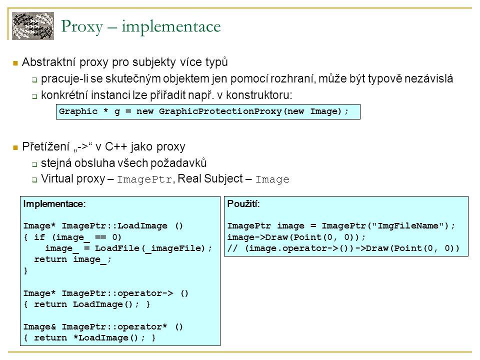 Proxy – implementace Abstraktní proxy pro subjekty více typů  pracuje-li se skutečným objektem jen pomocí rozhraní, může být typově nezávislá  konkr