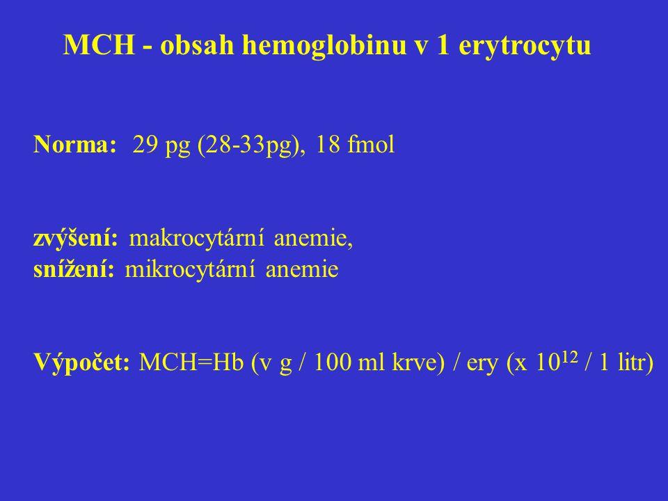 MCH - obsah hemoglobinu v 1 erytrocytu Norma: 29 pg (28-33pg), 18 fmol zvýšení: makrocytární anemie, snížení: mikrocytární anemie Výpočet: MCH=Hb (v g