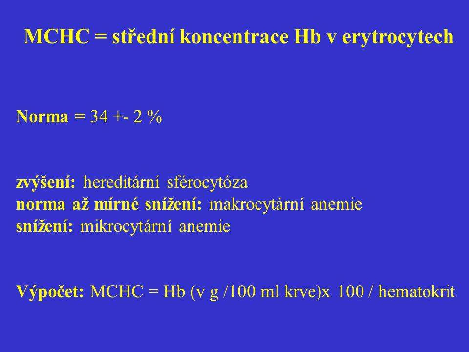 MCHC = střední koncentrace Hb v erytrocytech Norma = 34 +- 2 % zvýšení: hereditární sférocytóza norma až mírné snížení: makrocytární anemie snížení: m
