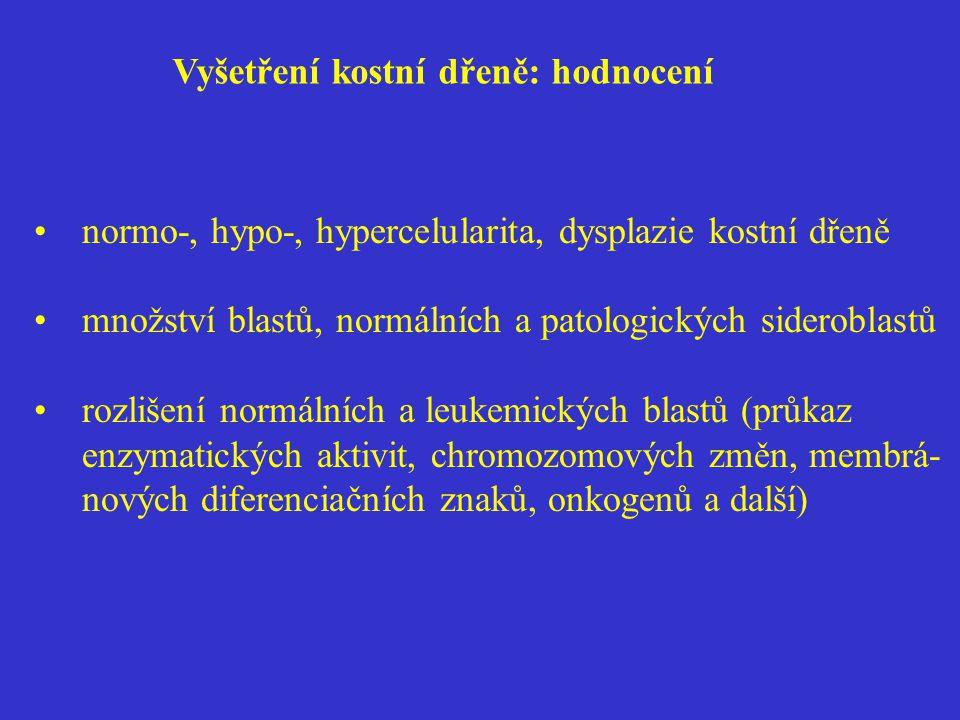 Vyšetření kostní dřeně: hodnocení normo-, hypo-, hypercelularita, dysplazie kostní dřeně množství blastů, normálních a patologických sideroblastů rozl