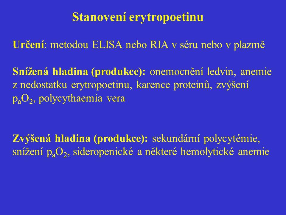 Stanovení erytropoetinu Určení: metodou ELISA nebo RIA v séru nebo v plazmě Snížená hladina (produkce): onemocnění ledvin, anemie z nedostatku erytrop
