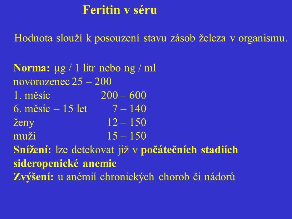 Feritin v séru Hodnota slouží k posouzení stavu zásob železa v organismu. Norma: μg / 1 litr nebo ng / ml novorozenec25 – 200 1. měsíc200 – 600 6. měs