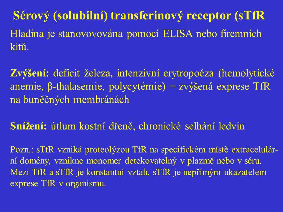 Sérový (solubilní) transferinový receptor (sTfR Hladina je stanovovována pomocí ELISA nebo firemních kitů. Zvýšení: deficit železa, intenzivní erytrop