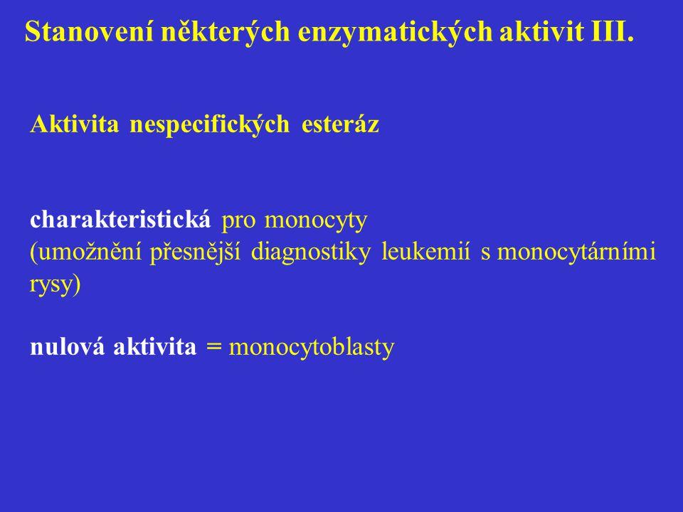 Stanovení některých enzymatických aktivit III. Aktivita nespecifických esteráz charakteristická pro monocyty (umožnění přesnější diagnostiky leukemií