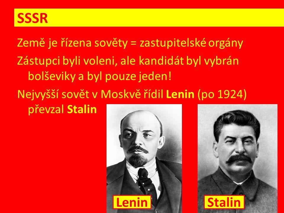 Veškerou moc v zemi měla jedna strana – komunistická Pronásledování, popravování a deportace nepohodlných osob Deportace na Sibiř, Dálný východ, příměstské gulagy = převýchova prací (upracování k smrti) Vraždění a pronásledování vlastních lidí, pokud byli schopnější, nebo měli odlišný názor (i z řad armády) = politické čistky (nepřítel lidu) SSSR