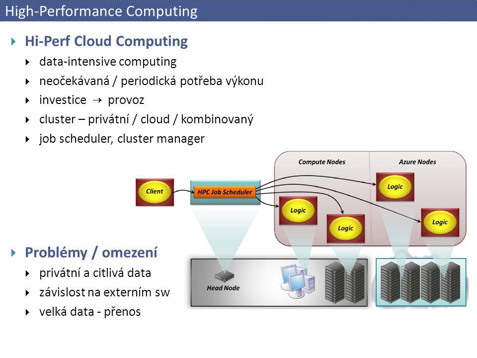 High-Performance Computing  Hi-Perf Cloud Computing  data-intensive computing  neočekávaná / periodická potřeba výkonu  investice → provoz  clust