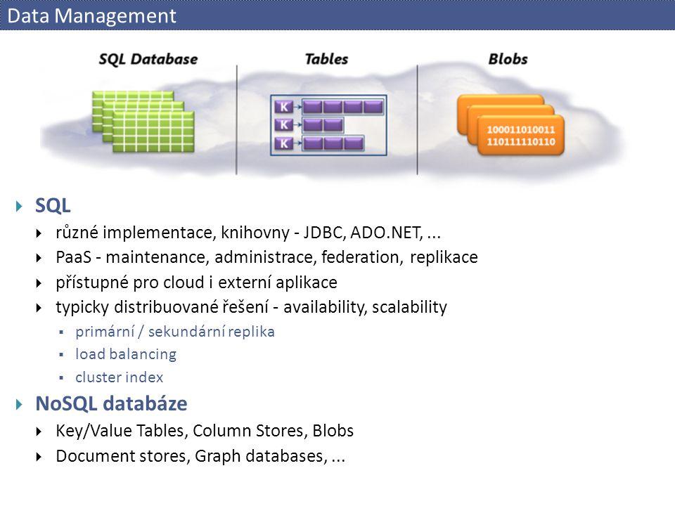 Data Management  SQL  různé implementace, knihovny - JDBC, ADO.NET,...  PaaS - maintenance, administrace, federation, replikace  přístupné pro clo