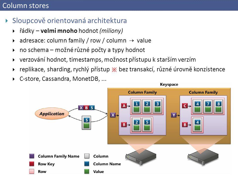 Column stores  Sloupcově orientovaná architektura  řádky – velmi mnoho hodnot (miliony)  adresace: column family / row / column → value  no schema