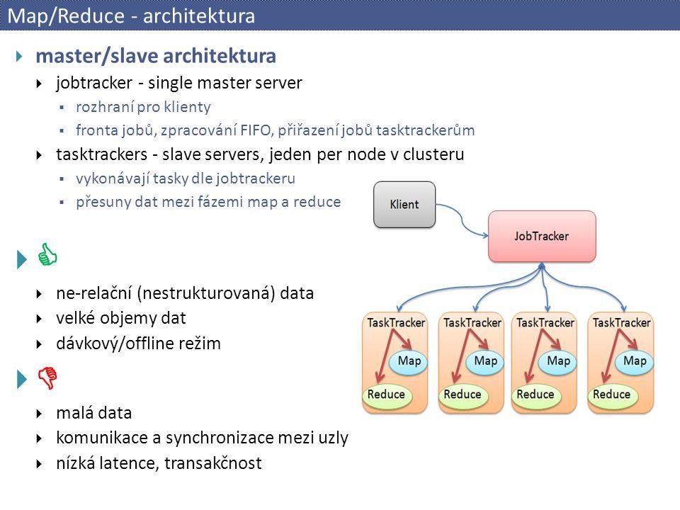 Map/Reduce - architektura  master/slave architektura  jobtracker - single master server  rozhraní pro klienty  fronta jobů, zpracování FIFO, přiřa