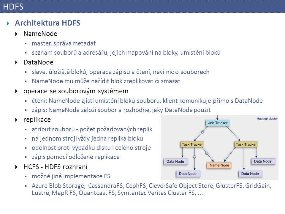 HDFS  Architektura HDFS  NameNode  master, správa metadat  seznam souborů a adresářů, jejich mapování na bloky, umístění bloků  DataNode  slave,