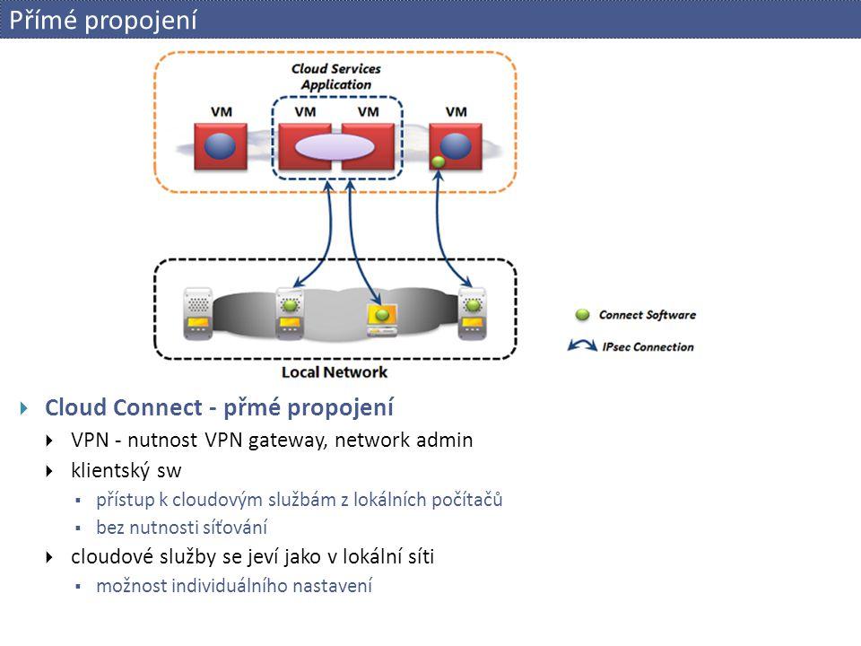 Přímé propojení  Cloud Connect - přmé propojení  VPN - nutnost VPN gateway, network admin  klientský sw  přístup k cloudovým službám z lokálních p