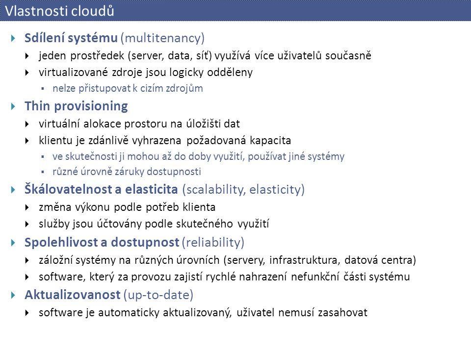 Vlastnosti cloudů  Sdílení systému (multitenancy)  jeden prostředek (server, data, síť) využívá více uživatelů současně  virtualizované zdroje jsou