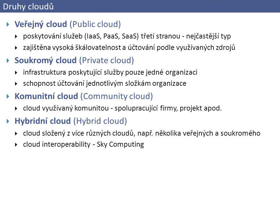 Druhy cloudů  Veřejný cloud (Public cloud)  poskytování služeb (IaaS, PaaS, SaaS) třetí stranou - nejčastější typ  zajištěna vysoká škálovatelnost