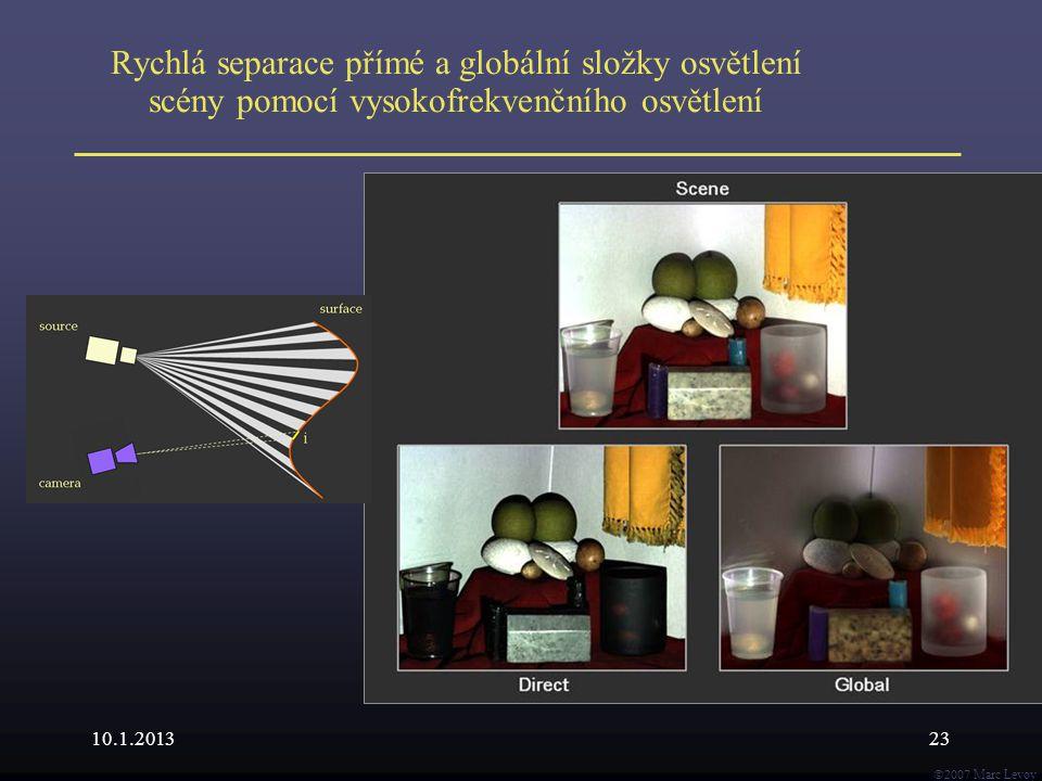  Marc Levoy Rychlá separace přímé a globální složky osvětlení scény pomocí vysokofrekvenčního osvětlení 10.1.201323