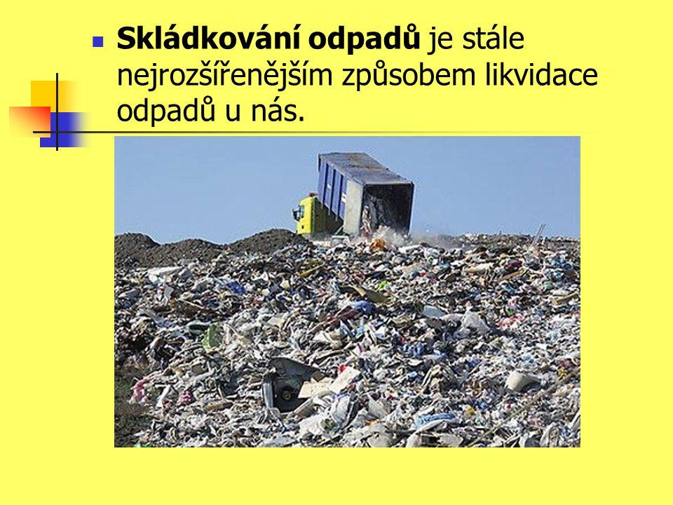 Skládkování odpadů je stále nejrozšířenějším způsobem likvidace odpadů u nás.
