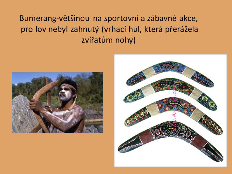 Bumerang-většinou na sportovní a zábavné akce, pro lov nebyl zahnutý (vrhací hůl, která přerážela zvířatům nohy)