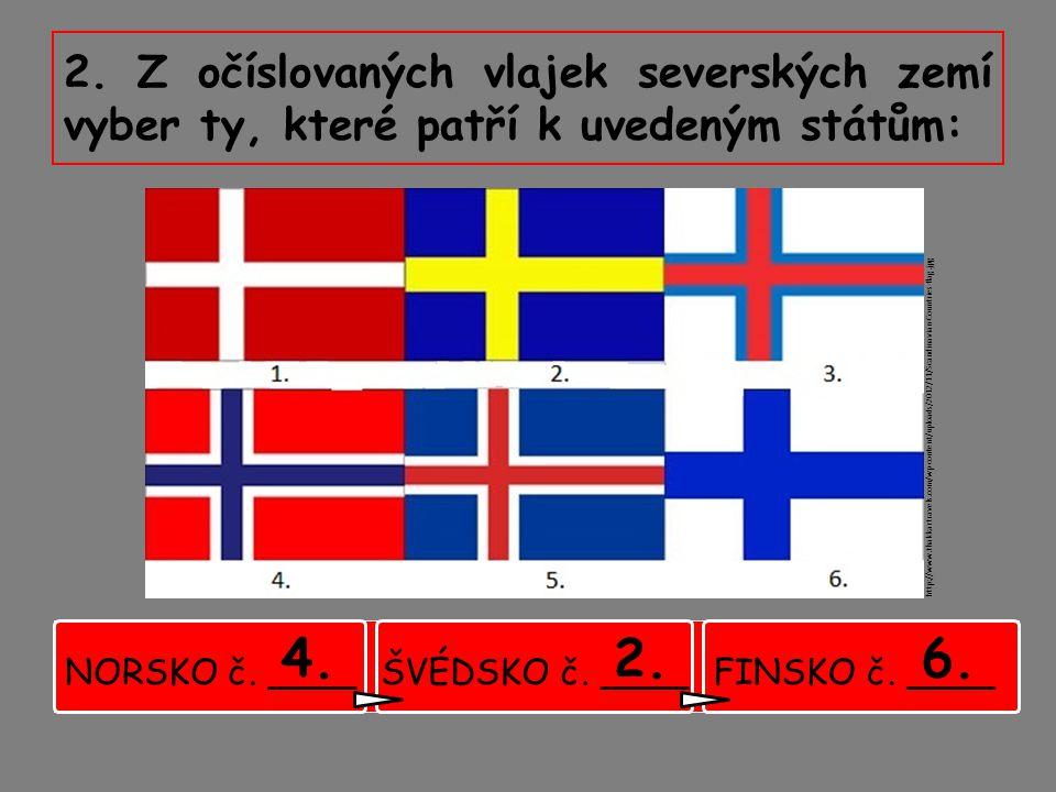 2. Z očíslovaných vlajek severských zemí vyber ty, které patří k uvedeným státům: http://www.thakkartravels.com/wp-content/uploads/2012/11/Scandinavia
