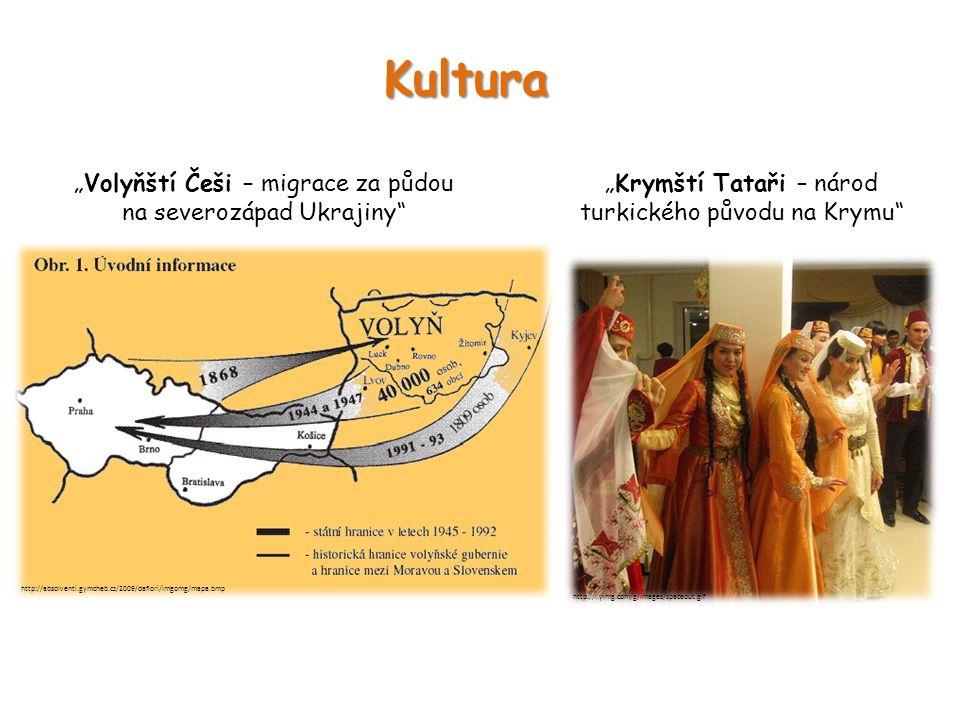 """Kultura """"Krymští Tataři – národ turkického původu na Krymu"""" http://l.yimg.com/g/images/spaceout.gif """"Volyňští Češi – migrace za půdou na severozápad U"""
