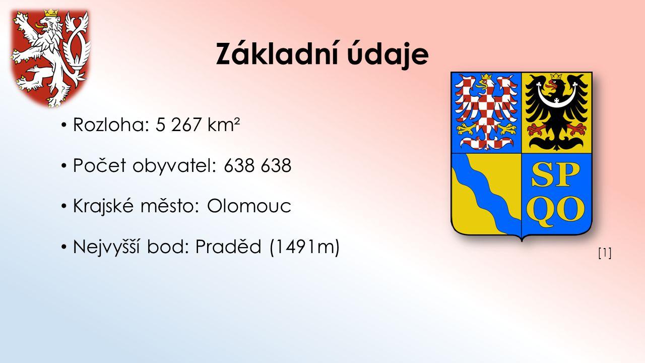 Základní údaje Rozloha: 5 267 km² Počet obyvatel: 638 638 Krajské město: Olomouc Nejvyšší bod: Praděd (1491m) [1][1]