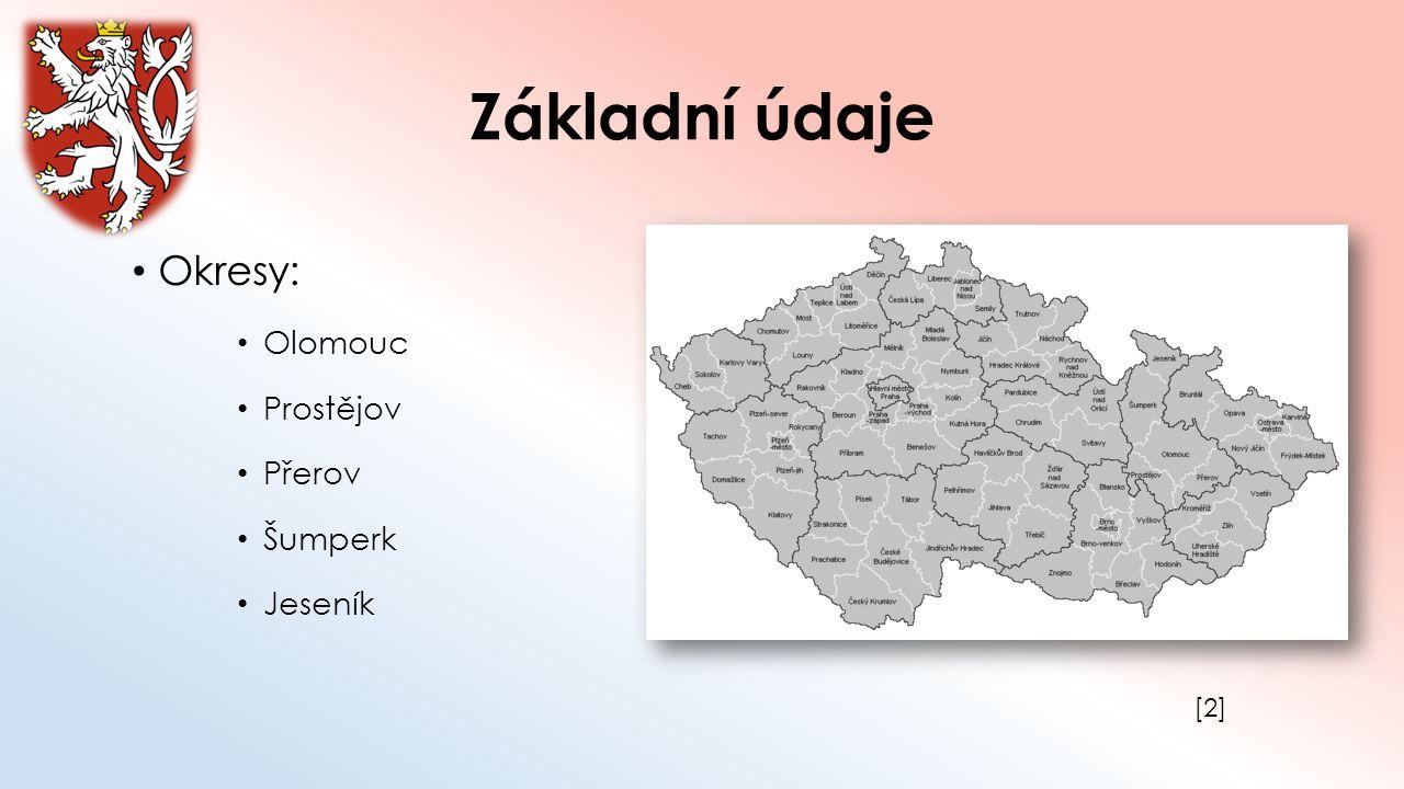 Základní údaje Okresy: Olomouc Prostějov Přerov Šumperk Jeseník [2][2]
