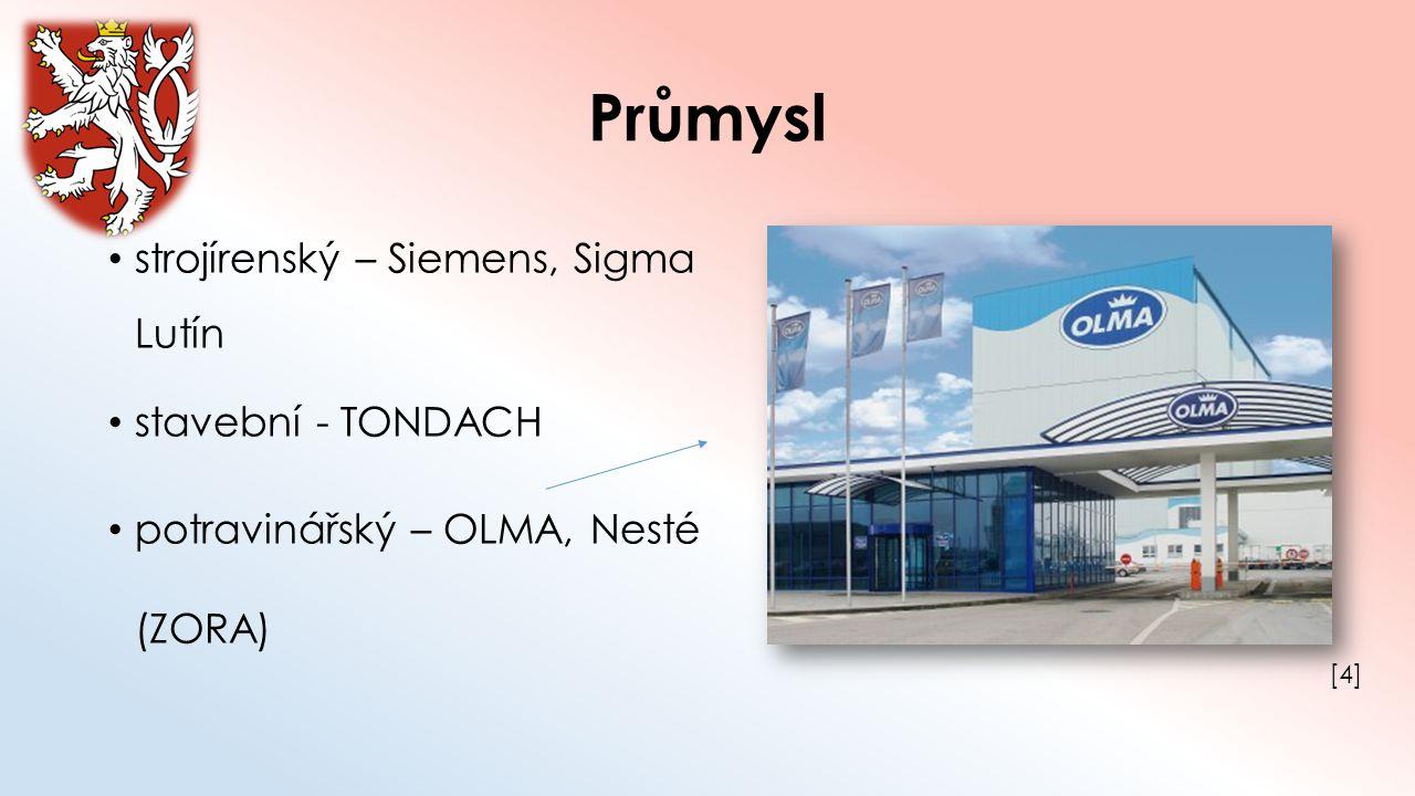 Průmysl strojírenský – Siemens, Sigma Lutín stavební - TONDACH potravinářský – OLMA, Nesté (ZORA) [4][4]