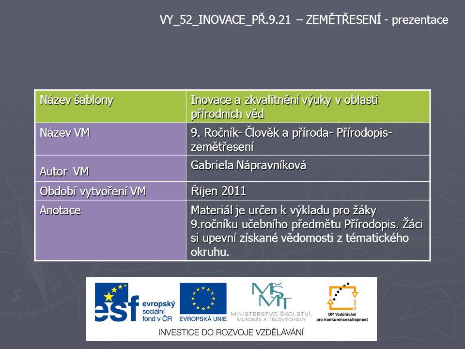 Název šablony Inovace a zkvalitnění výuky v oblasti přírodních věd Název VM 9.