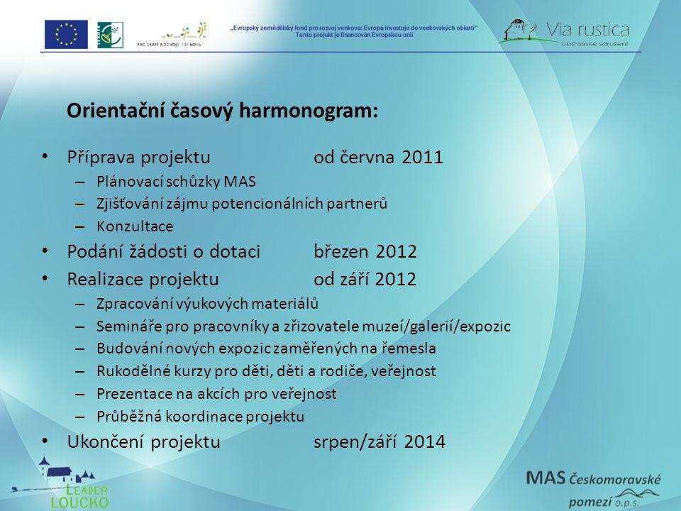 Orientační časový harmonogram: Příprava projektuod června 2011 – Plánovací schůzky MAS – Zjišťování zájmu potencionálních partnerů – Konzultace Podání