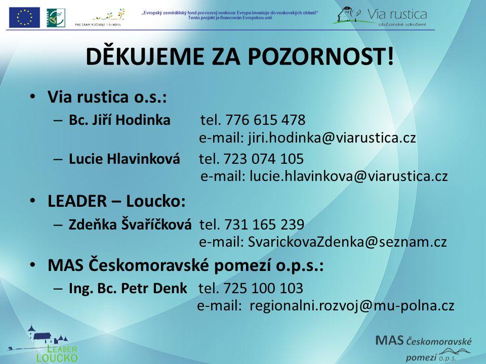 DĚKUJEME ZA POZORNOST! Via rustica o.s.: – Bc. Jiří Hodinka tel. 776 615 478 e-mail: jiri.hodinka@viarustica.cz – Lucie Hlavinková tel. 723 074 105 e-