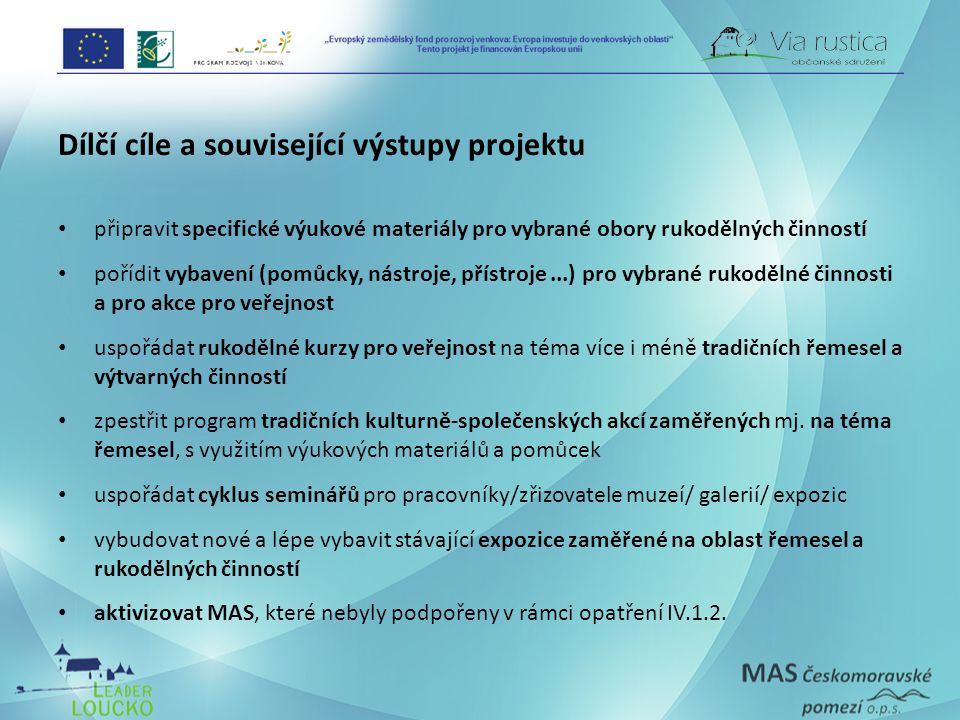 Dílčí cíle a související výstupy projektu připravit specifické výukové materiály pro vybrané obory rukodělných činností pořídit vybavení (pomůcky, nás