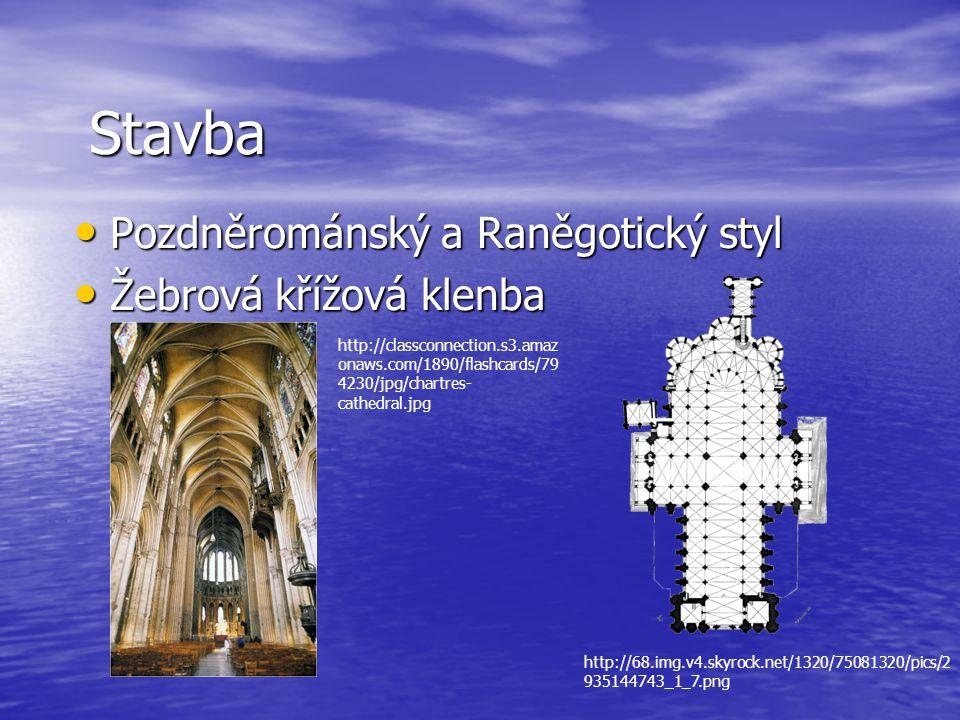 Stavba Pozdněrománský a Raněgotický styl Pozdněrománský a Raněgotický styl Žebrová křížová klenba Žebrová křížová klenba http://classconnection.s3.ama