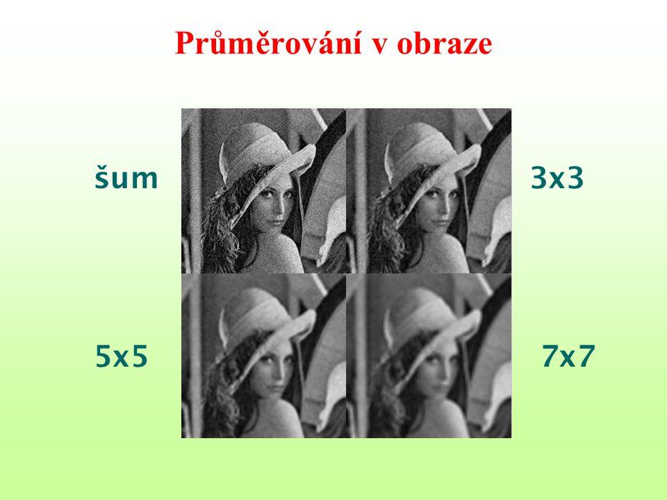 Průměrování v obraze 3x3 5x57x7 šum