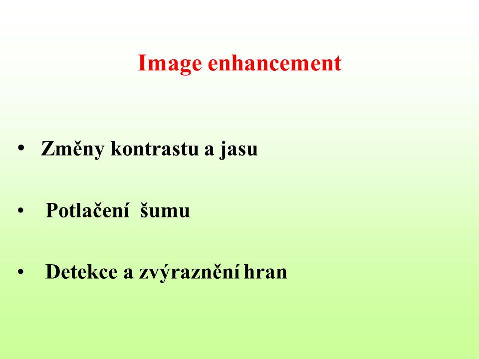 Image enhancement Změny kontrastu a jasu Potlačení šumu Detekce a zvýraznění hran