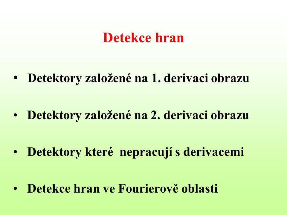 Detekce hran Detektory založené na 1. derivaci obrazu Detektory založené na 2. derivaci obrazu Detektory které nepracují s derivacemi Detekce hran ve