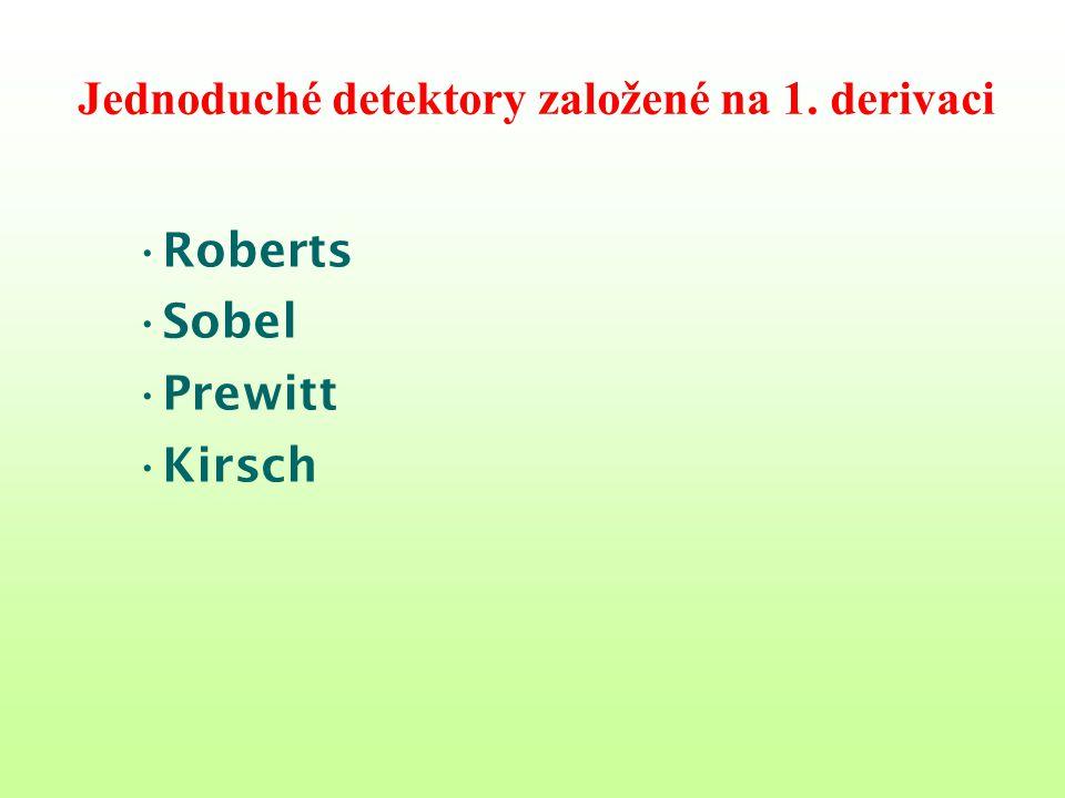 Jednoduché detektory založené na 1. derivaci Roberts Sobel Prewitt Kirsch