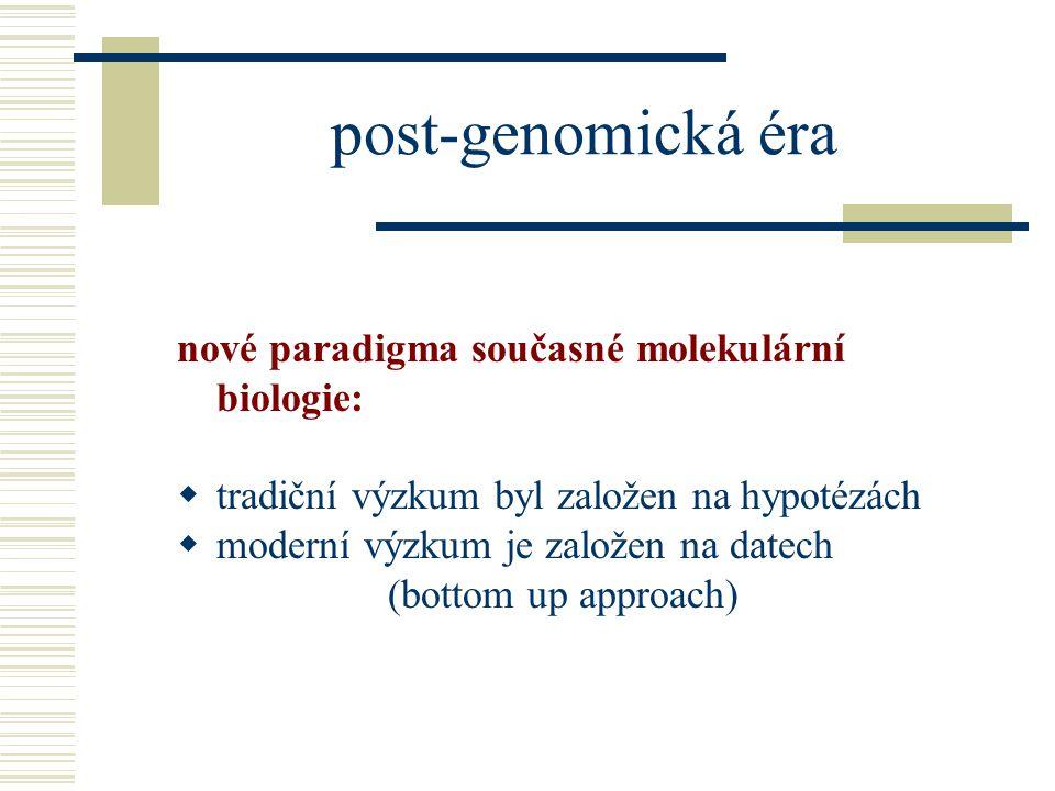 post-genomická éra nové paradigma současné molekulární biologie:  tradiční výzkum byl založen na hypotézách  moderní výzkum je založen na datech (bottom up approach)