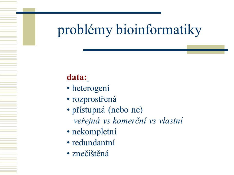 problémy bioinformatiky data: heterogení rozprostřená přístupná (nebo ne) veřejná vs komerční vs vlastní nekompletní redundantní znečištěná
