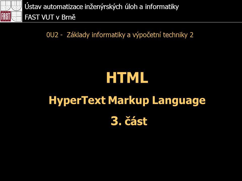 HTML HyperText Markup Language 3.