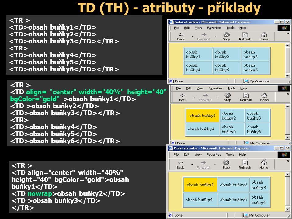 TD (TH) - atributy - příklady obsah buňky1 obsah buňky2 obsah buňky3 obsah buňky4 obsah buňky5 obsah buňky6 obsah buňky1 obsah buňky2 obsah buňky3 obsah buňky4 obsah buňky5 obsah buňky6 <TD align= center width= 40% height= 40 bgColor= gold >obsah buňky1 obsah buňky2 obsah buňky3