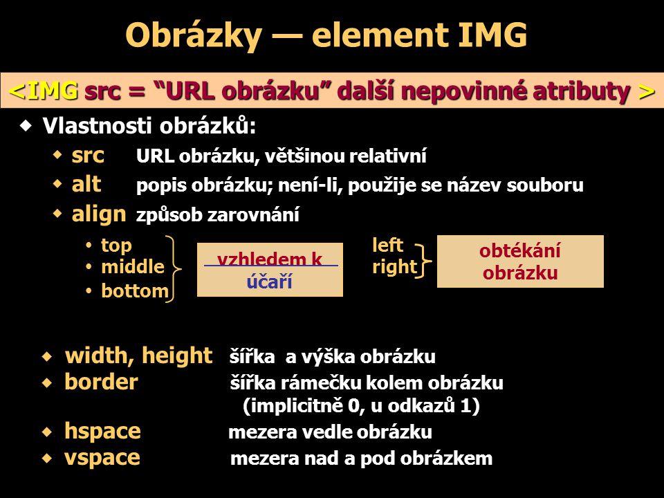 Obrázky — element IMG  Vlastnosti obrázků:  src URL obrázku, většinou relativní  alt popis obrázku; není-li, použije se název souboru  align způsob zarovnání  topleft  middleright  bottom vzhledem k účaří obtékání obrázku   width, height šířka a výška obrázku   border šířka rámečku kolem obrázku (implicitně 0, u odkazů 1)   hspace mezera vedle obrázku   vspace mezera nad a pod obrázkem