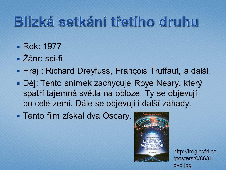  Rok: 1977  Žánr: sci-fi  Hrají: Richard Dreyfuss, François Truffaut, a další.  Děj: Tento snímek zachycuje Roye Neary, který spatří tajemná světl