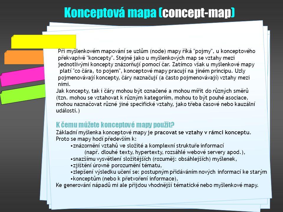Konceptová mapa (concept-map) Při myšlenkovém mapování se uzlům (node) mapy říká pojmy , u konceptového překvapivě koncepty .