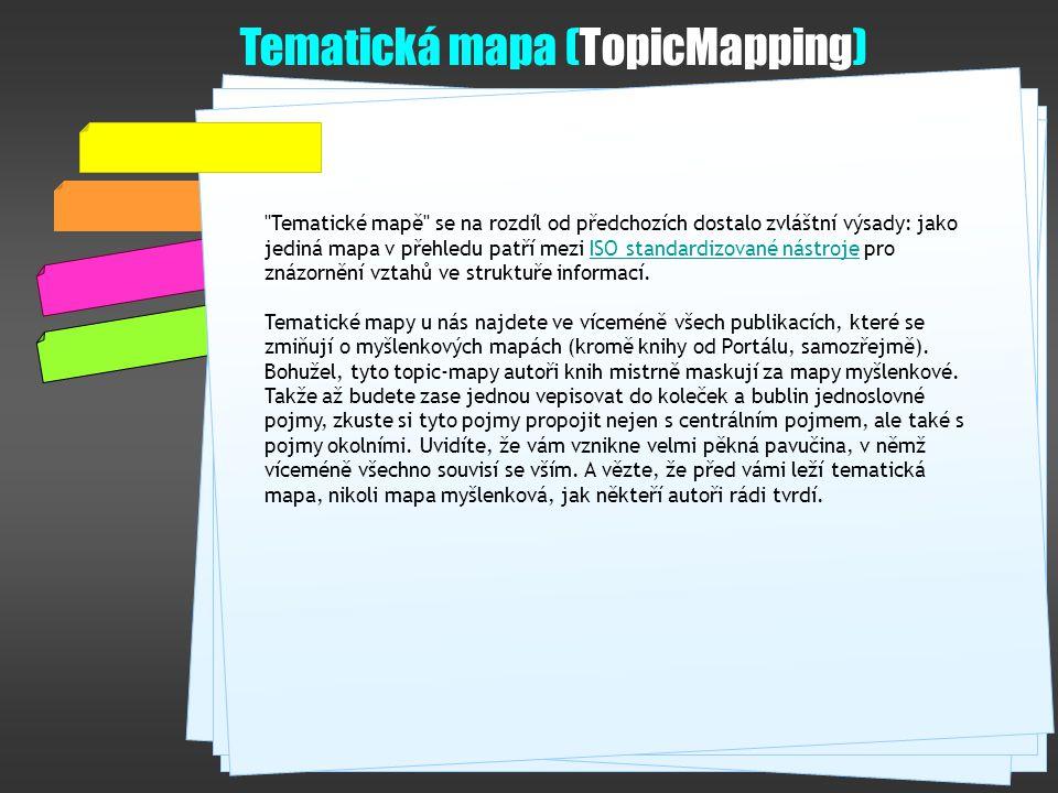 Tematické mapě se na rozdíl od předchozích dostalo zvláštní výsady: jako jediná mapa v přehledu patří mezi ISO standardizované nástroje pro znázornění vztahů ve struktuře informací.ISO standardizované nástroje Tematické mapy u nás najdete ve víceméně všech publikacích, které se zmiňují o myšlenkových mapách (kromě knihy od Portálu, samozřejmě).