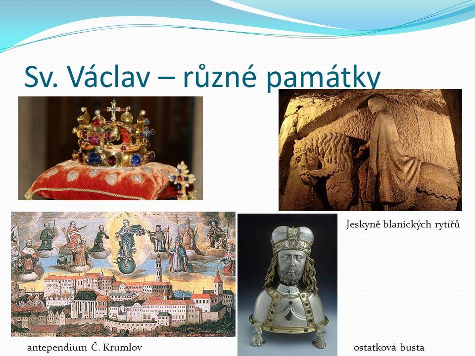 Sv. Václav – různé památky Jeskyně blanických rytířů antependium Č. Krumlovostatková busta